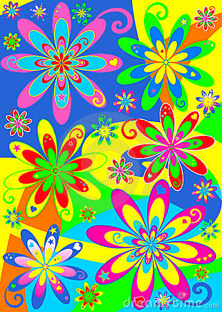 Groovy Hippy Style Psychedelic Pattern In Vivid Bright Colours