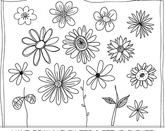 Hand Drawn Flowers Digital Clipart Photoshop Brushes And Stamps