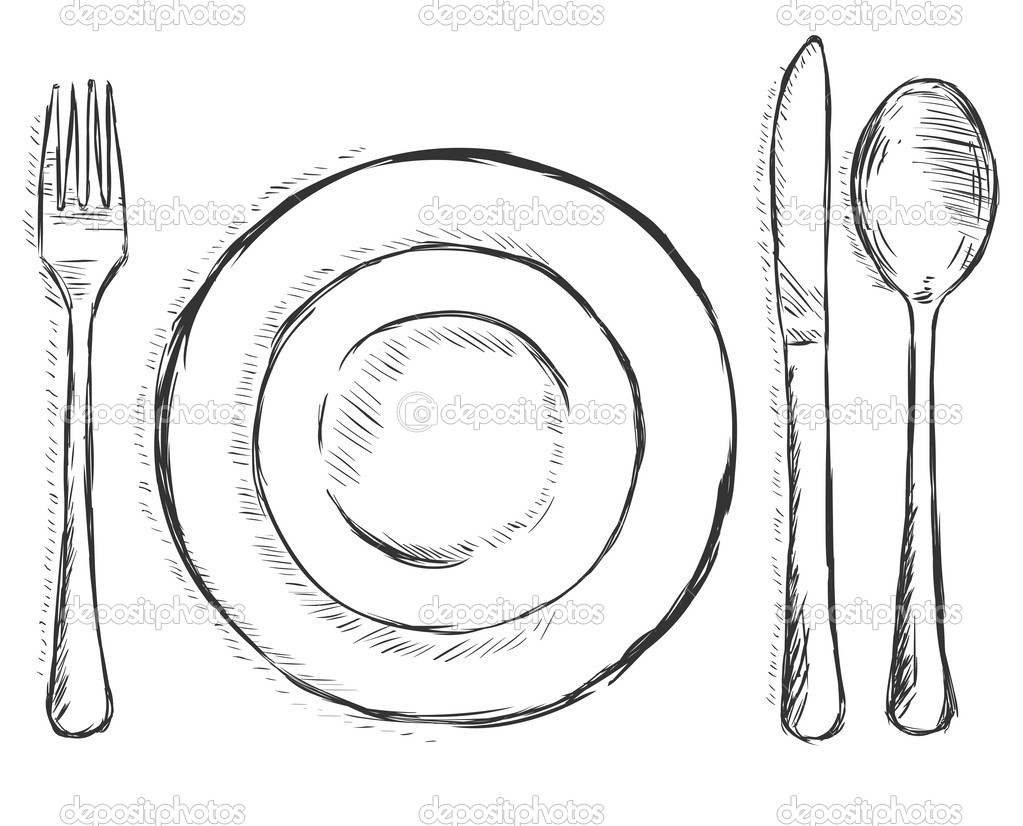 Illustration   Cutlery  Fork Plate Knife Spoon   Stock Illustration