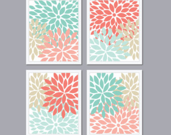 Modern Abstract Flower Bursts Set  4  5x7 8x10 Or 11x14    Shades Of