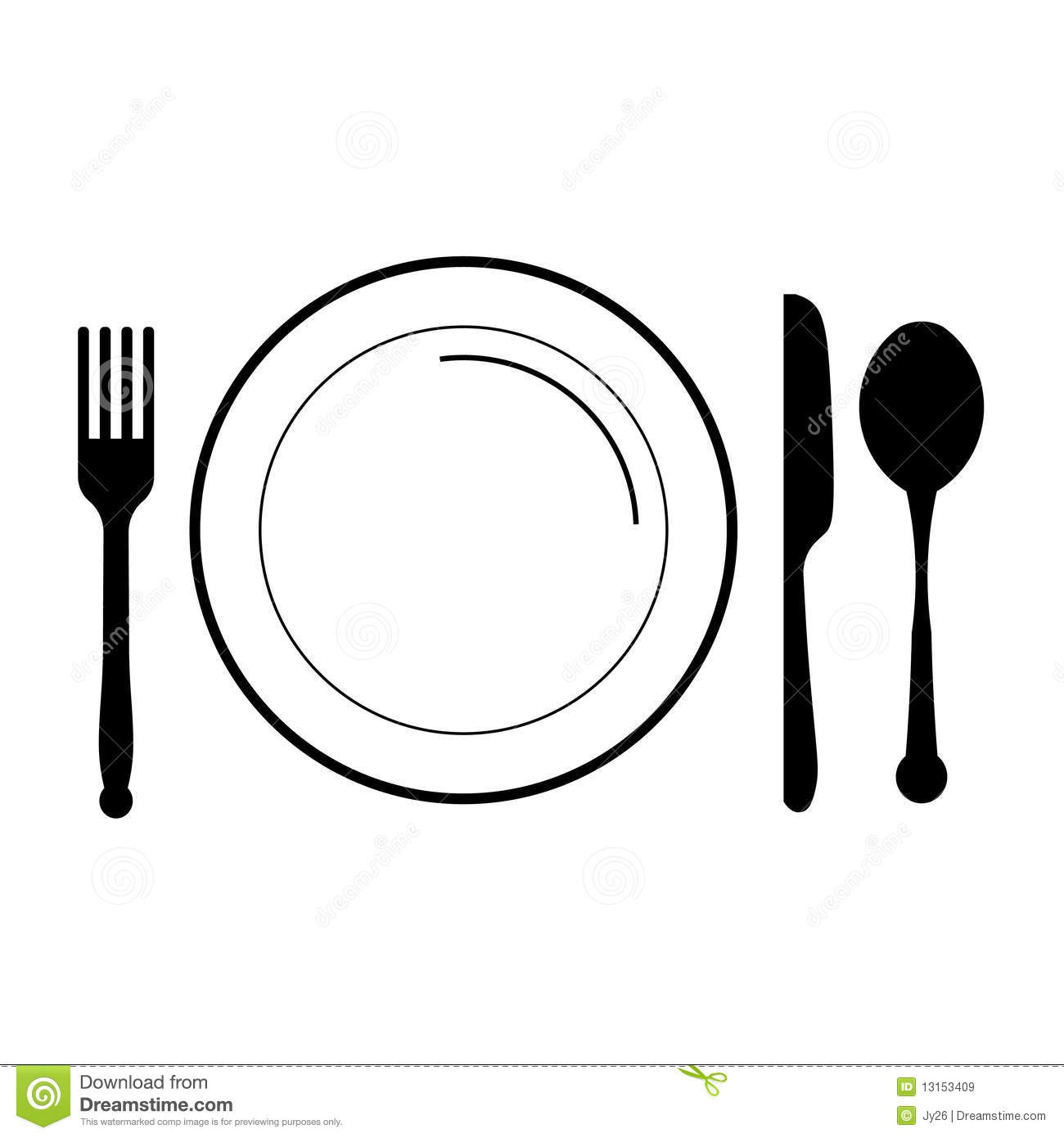 Plate With Fork Knife Spoon Royalty Free Stock Images   Image