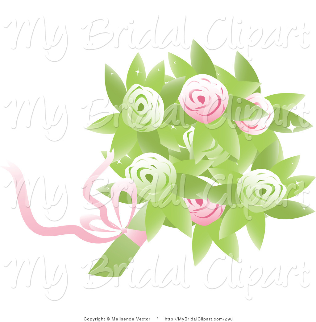 Preview  Bridal Clipart Of A Bridal Bouquet Of Pink And Green Roses
