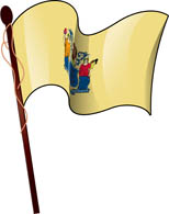 Tn New Jersey State Flag On Pole Clipart