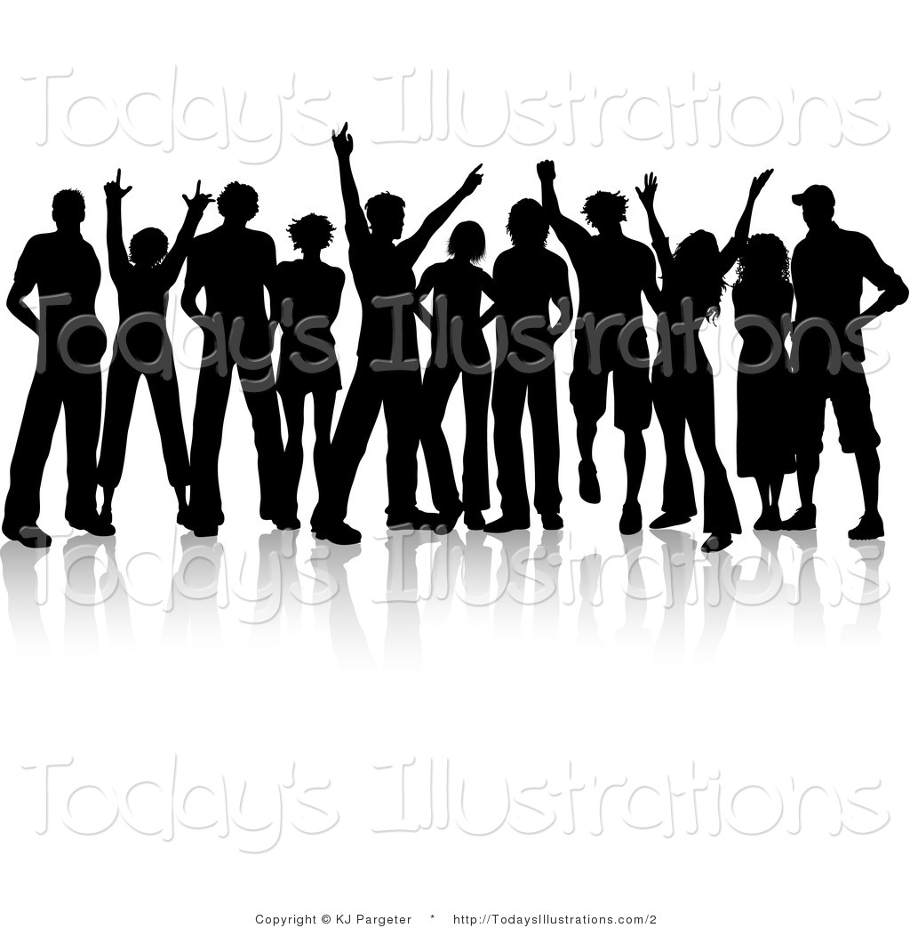 Vector Clipart Of A Silhouetted Teenage Crowd By Kj Pargeter    2