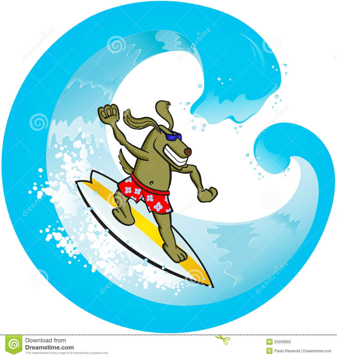 Vector Illustration Of A Dog Surfing The Wave