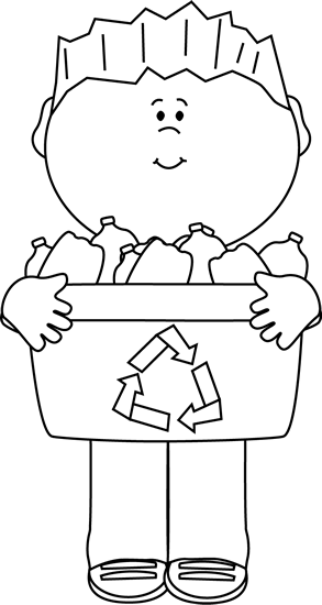 Black And White Boy Carrying A Recycle Bin Clip Art   Black And White