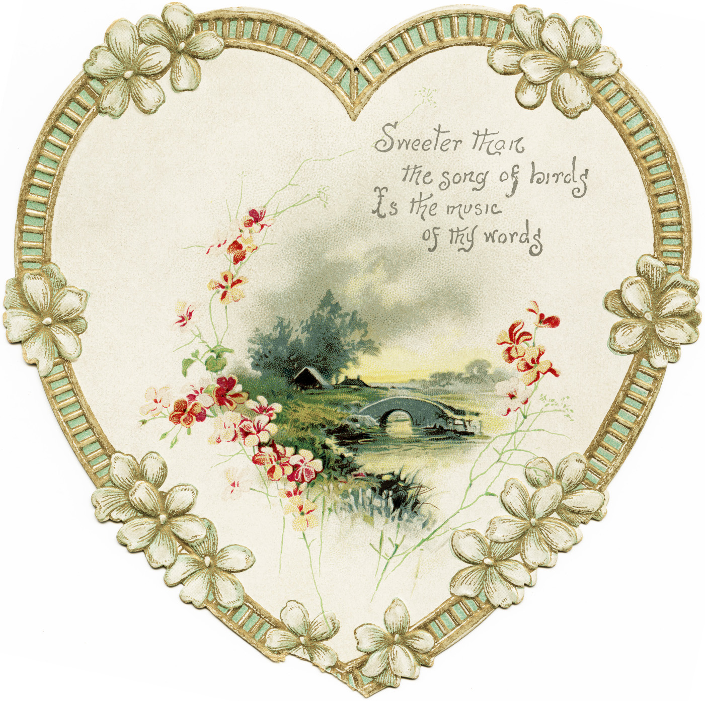 Card Heart Flowers Vintage Clipart Heart Old Fashioned Card