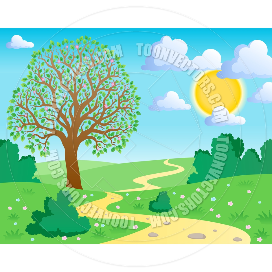 Cartoon Spring Landscape Scene By Clairev   Toon Vectors Eps  35087