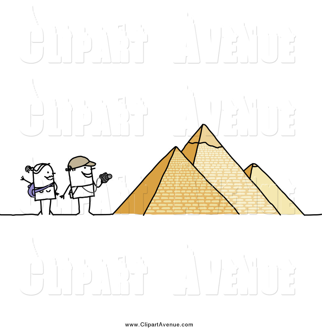Clipart Of Stick People Tourists Visiting The Egyptian Pyramids By Nl