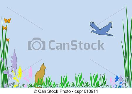 Drawing Of A Spring Scene In Clip Art Csp1010914   Search Clip Art