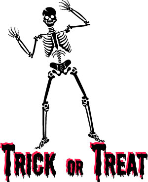 Full Size Halloween Skeleton Graphic With Trick Or Treat Word Art