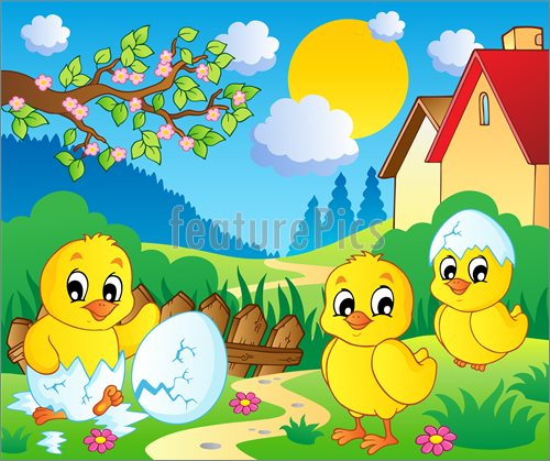 Illustration Of Scene With Spring Season Theme 2   Vector Illustration