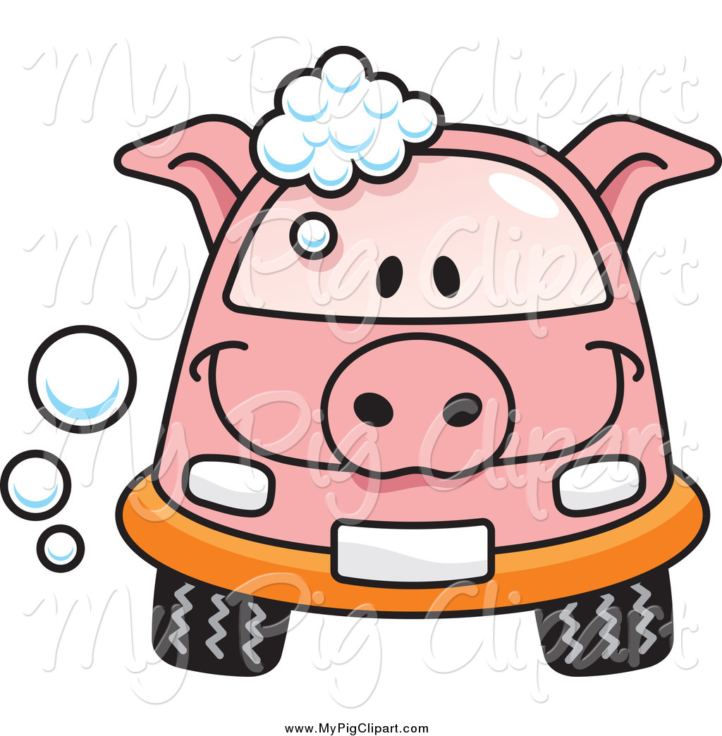 Larger Preview  Swine Clipart Of A Pig Car With Soap Bubbles By Any