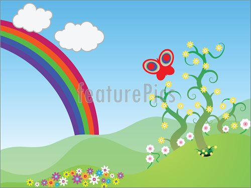 Spring Scene Clip Art Of A Spring Scene With A