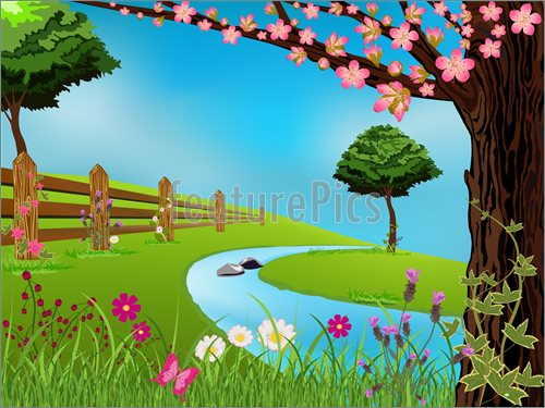 Spring Scene Illustration  Clip Art To Download At Featurepics Com