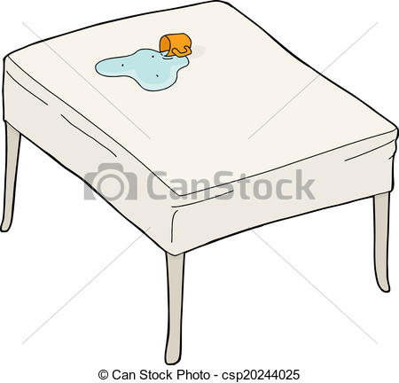 Vector Illustration Of Spilled Water On Table   Accidental Spill From
