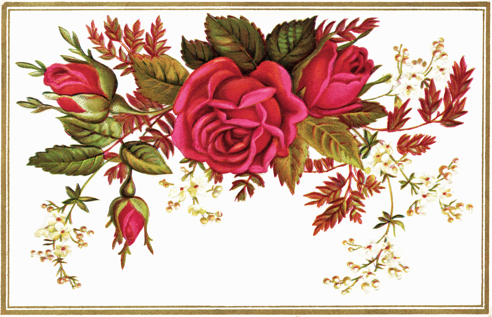 Victorian Reward Of Merit Vintage Clipart Roses Victorian Card