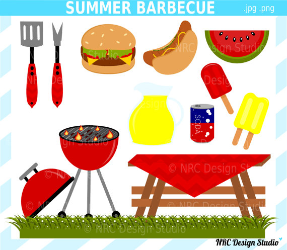 70  Sale Summer Barbecue Party Clip Art   Digital Barbecue Clipart