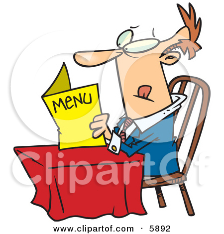 At A Table And Reading A Menu At A Restaurant Clipart Illustration Jpg