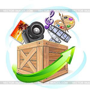 Box With Multimedia Content   Vector Clip Art