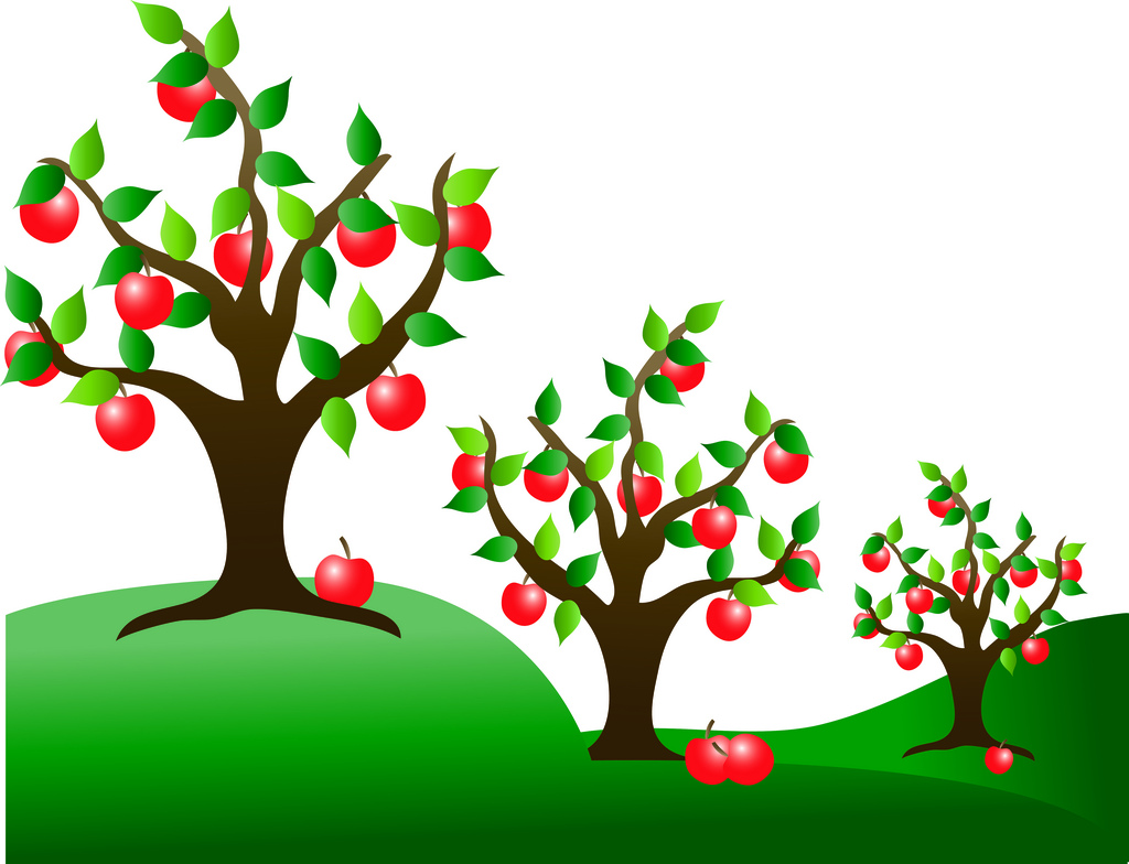 Clip Art Illustration Of Apple Trees In An Orchard   A Photo On