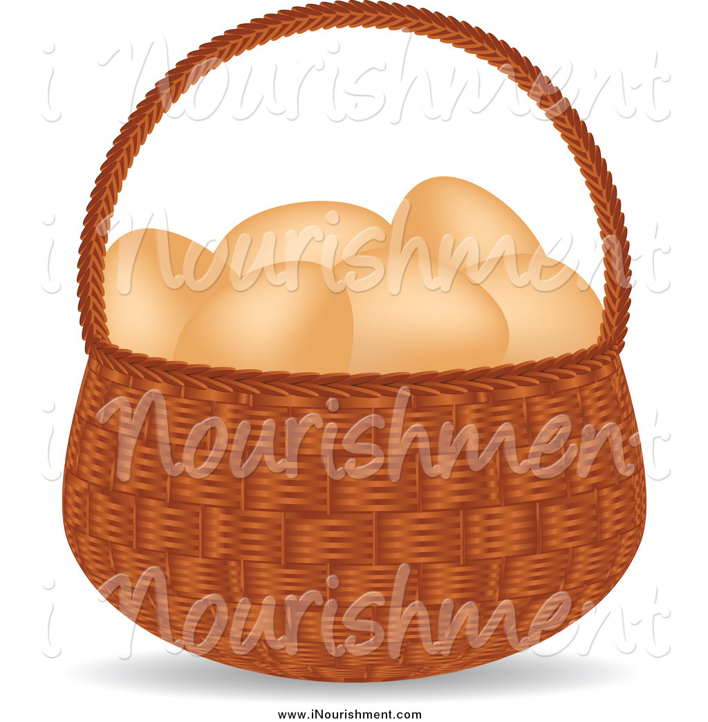Clipart Of A Basket Of Organic And Free Range Brown Chicken Eggs By