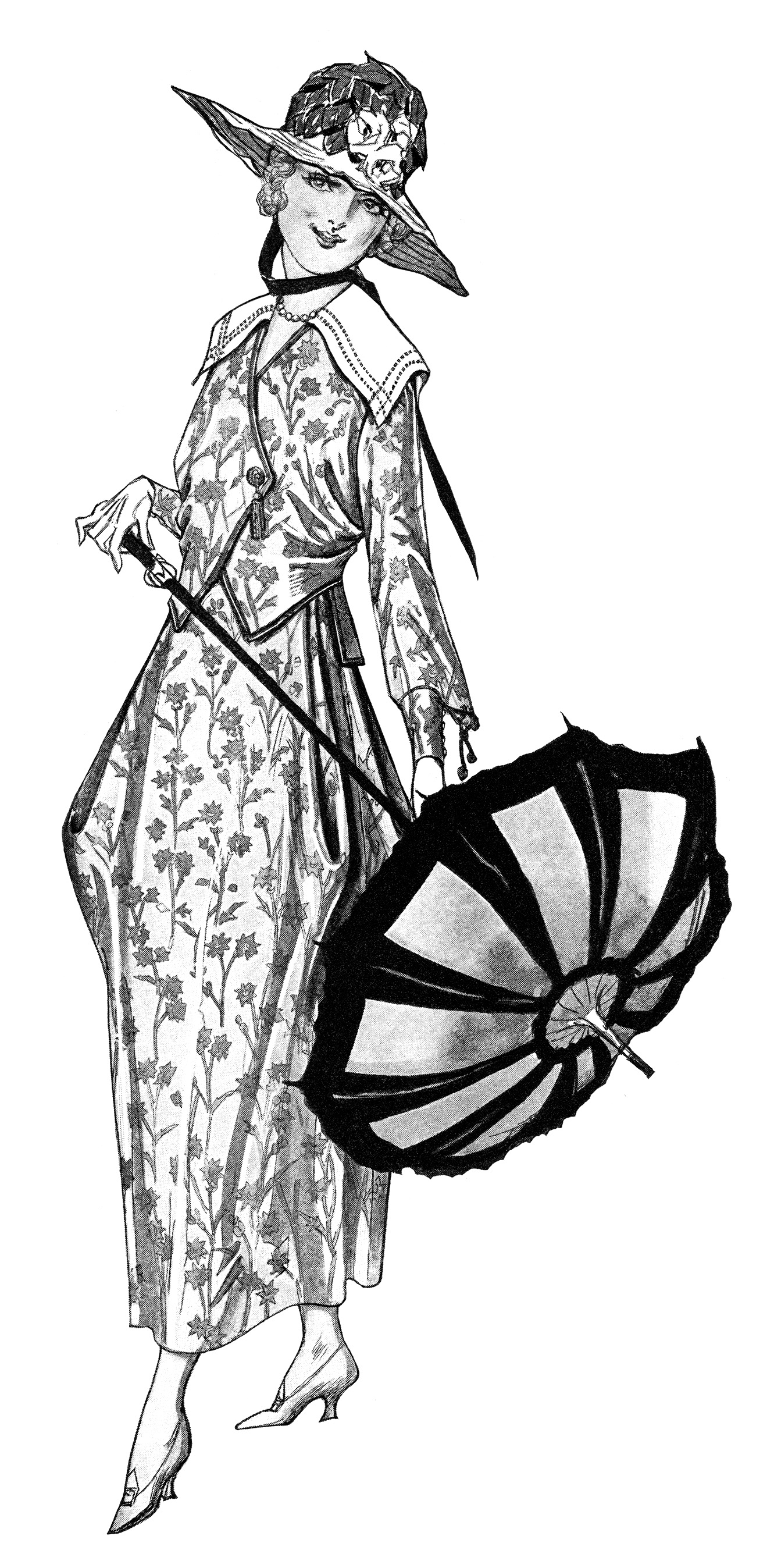 Free Vintage Image Ladies  Dresses And Parasols 1917   Old Design Shop