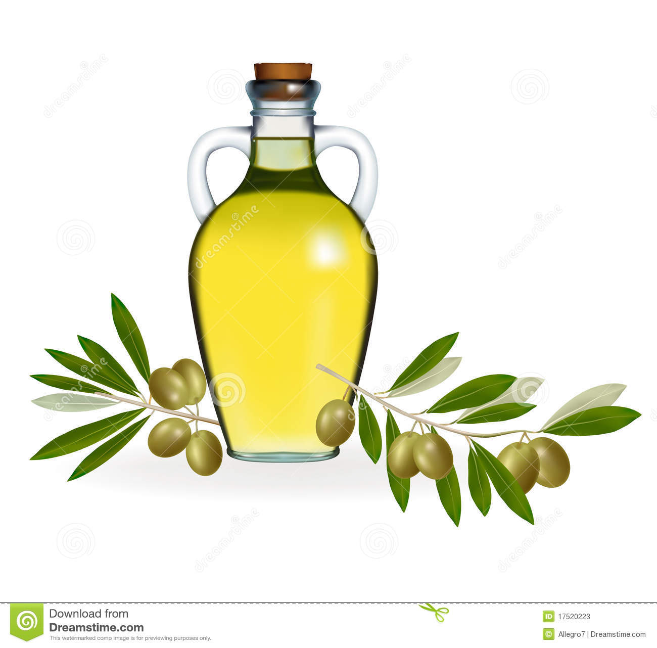 Green Olives With Bottle Of Olive Oil Stock Photos Image
