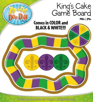 Mardi Gras King S Cake Board Game Clipart Set   Create Your Own Game