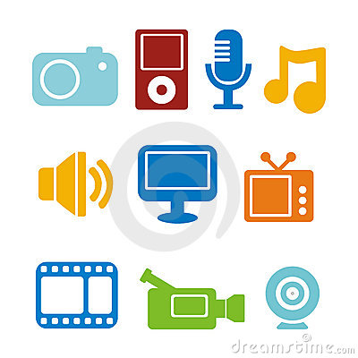 Multimedia Clip Art Multimedia Icons 13851712 Jpg
