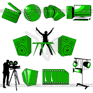 Multimedia Icons Set   Vector Clip Art