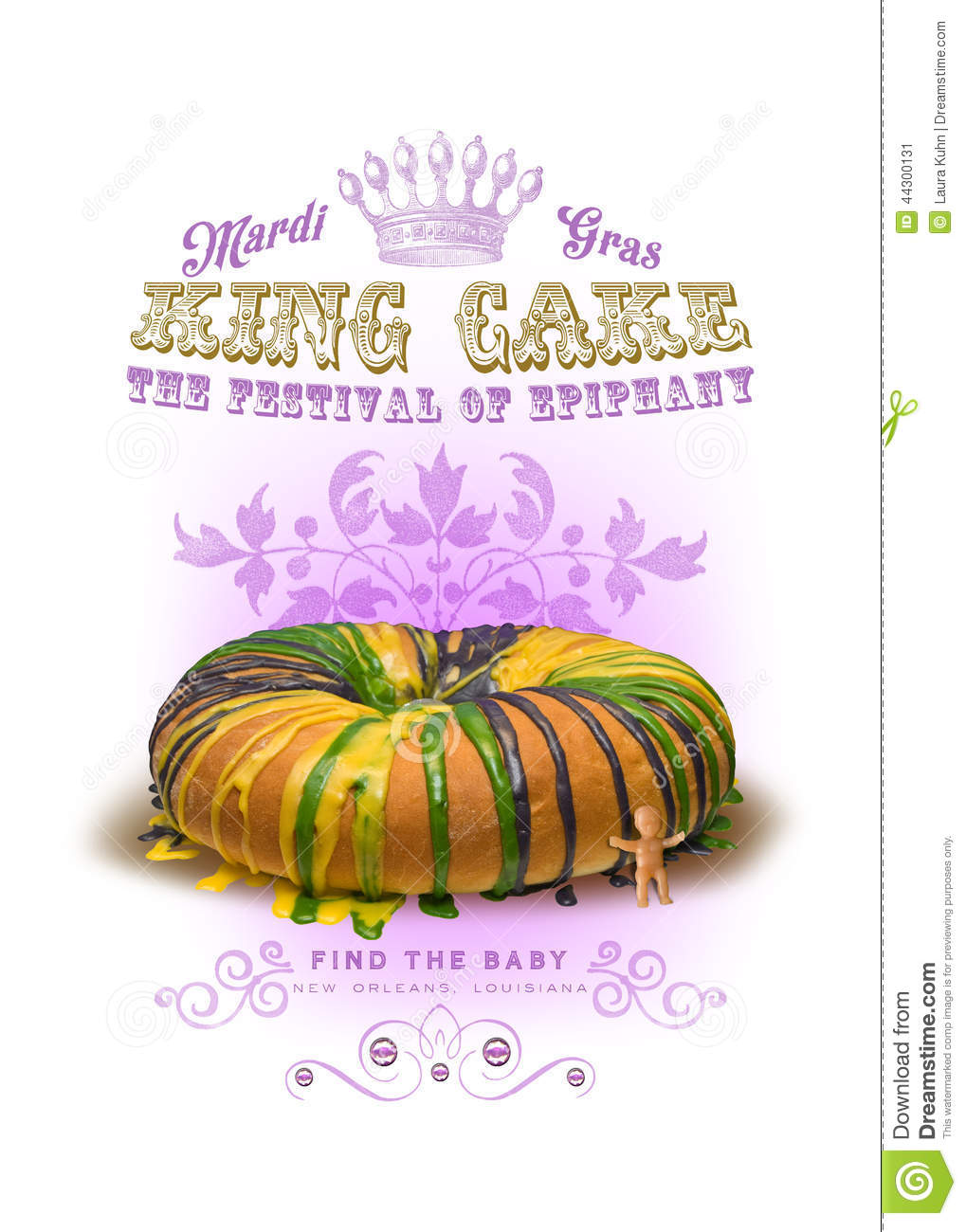 Nola Collection Mard Gras King Cake Background Stock Photo   Image