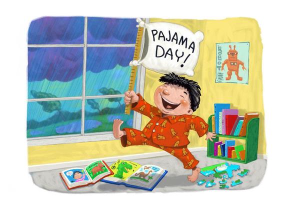 Pajama Day Cartoon Clipart Kid