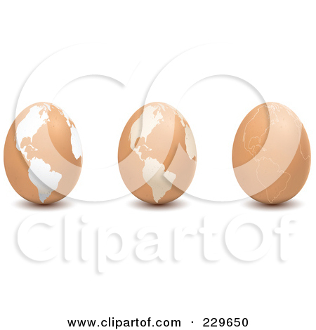 Rf  Clipart Illustration Of A Digital Collage Of Three Brown Eggs
