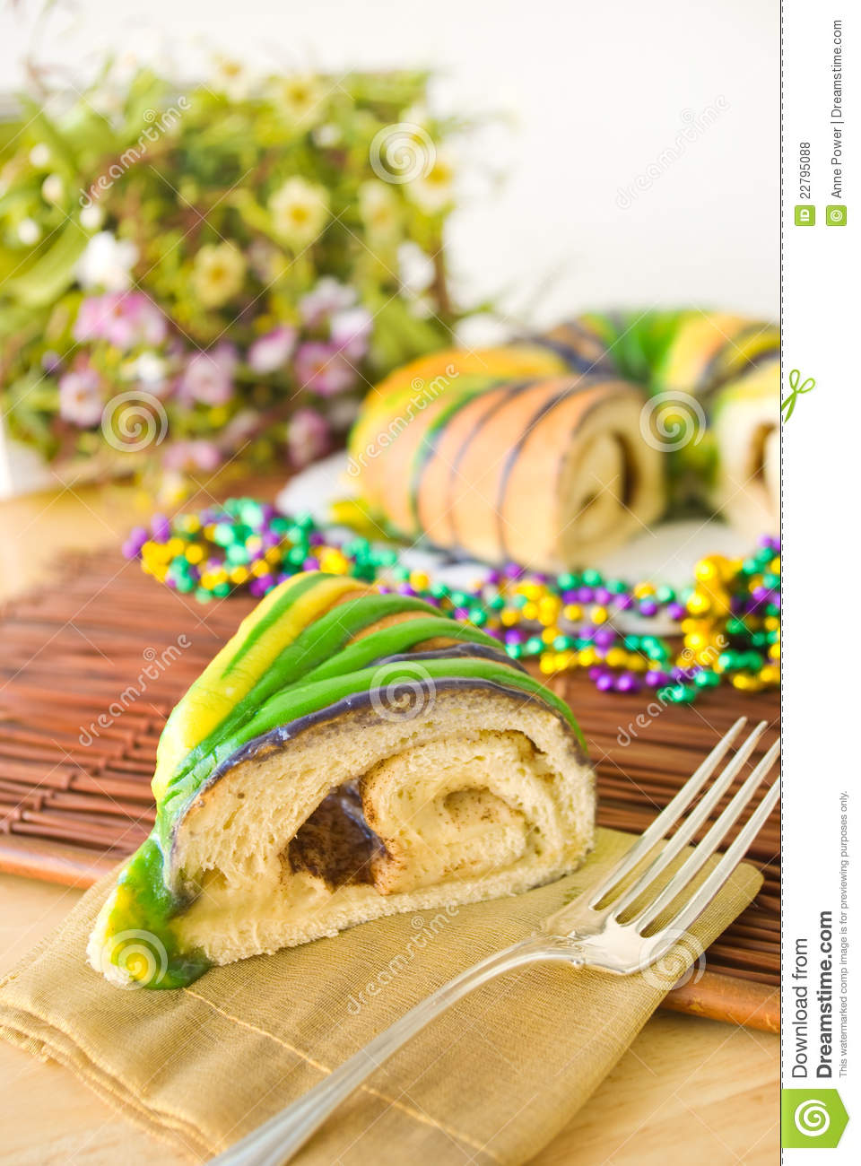 Slice Of Traditional New Orleans Style King Cake To Celebrate Mardi