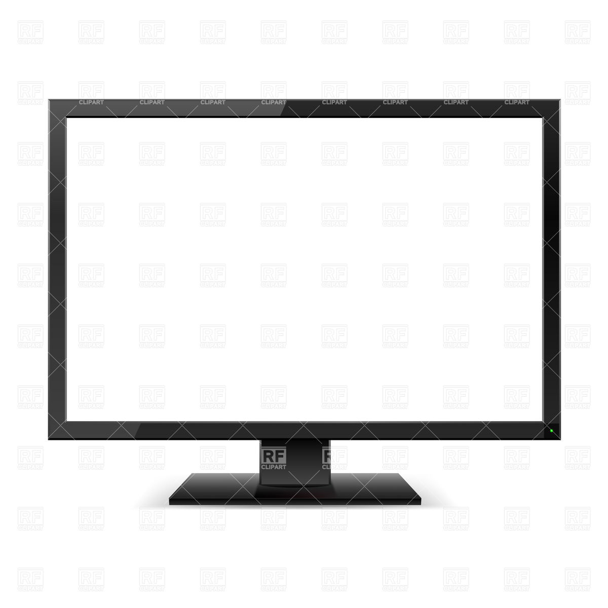 Tv Monitor With A White Screen Download Royalty Free Vector Clipart