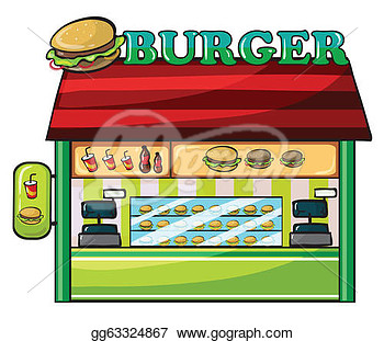 Vector Illustration   Illustration Of A Fastfood Restaurant On A White