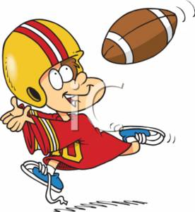 0511 0712 2614 3201 Football Catching Cartoon Boy Clipart Image