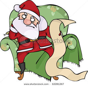 Angry Santa With The Naughty List   Clipart