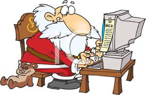 Cartoon Of Santa Making His Naughty And Nice List On A Computer