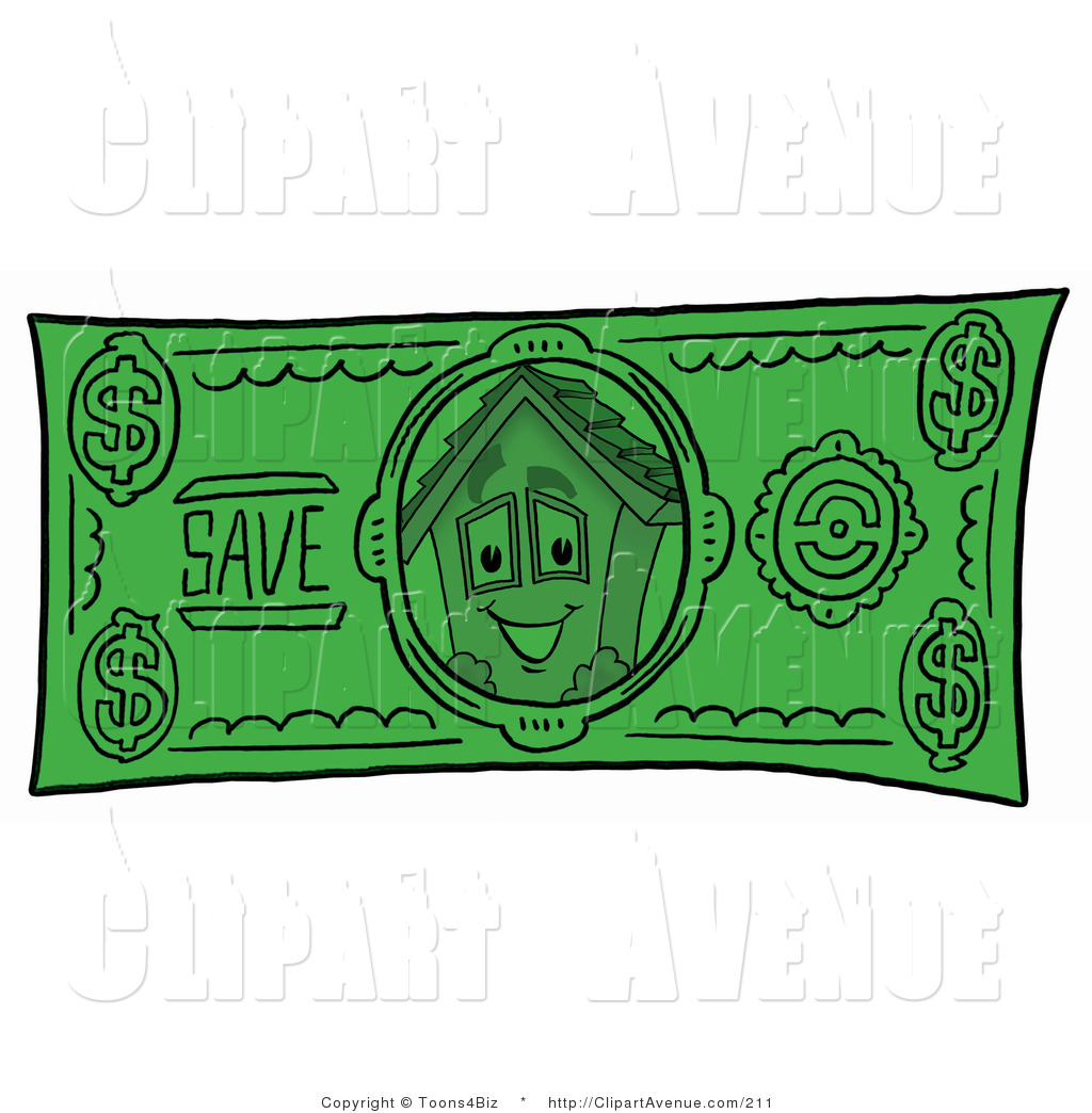 Clipart Of A House Mascot Cartoon Character On A Green Dollar Bill
