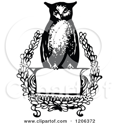 Clipart Of A Vintage Black And White Wise Owl Sign   Royalty Free