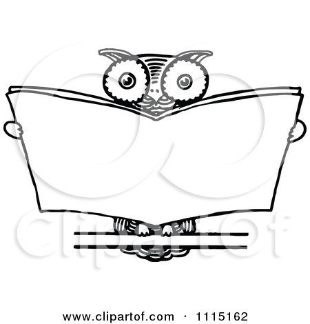 Clipart Vintage Black And White Wise Owl Reading   Royalty Free Vector