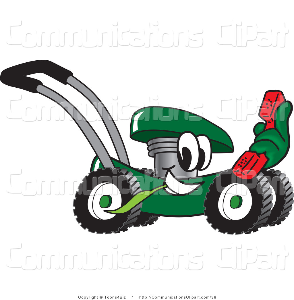 Communication Clipart Of A Green Lawn Mower Mascot Cartoon Character