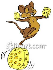 Dancing Mouse With Cheese   Royalty Free Clipart Picture