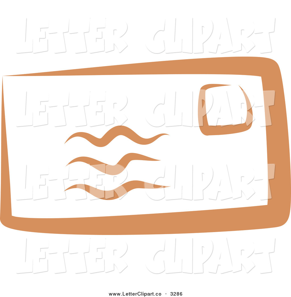 Larger Preview  Clip Art Of A Stampled Orange Envelope On White By