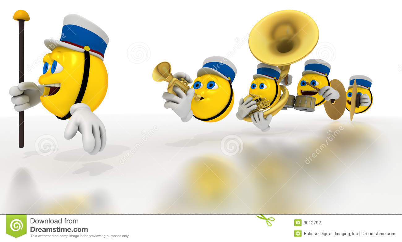 Line Of Yellow Emoticons Play Marching Band Instruments And Drums