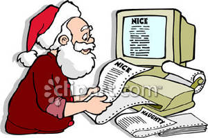 Santa Claus Checking His List Of Naughty And Nice   Royalty Free