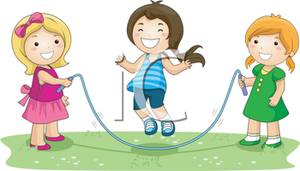 Three Girls Playing Jump Rope   Royalty Free Clipart Picture