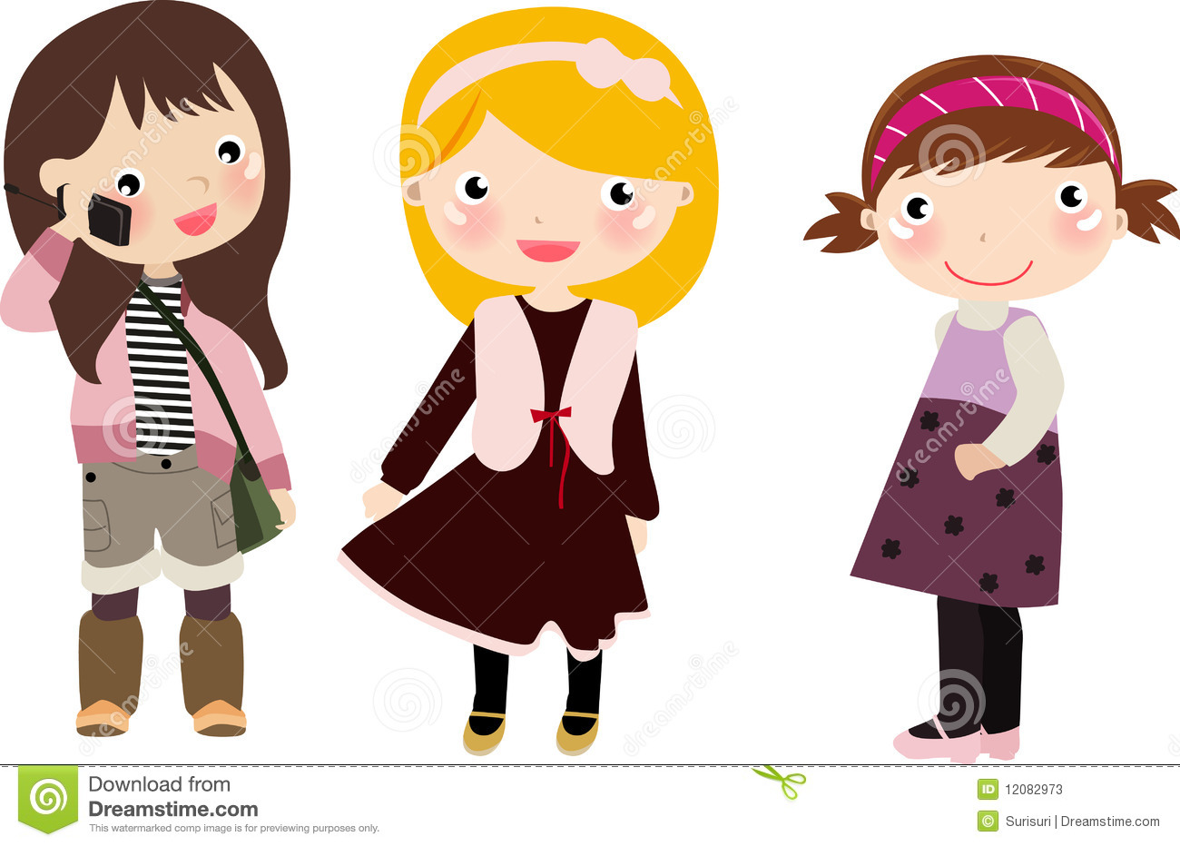 Three Girlskids Stock Photos   Image  12082973